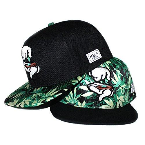 Yingrui-Embroidery-Mens-Bboy-Brim-Marijuana-Baseball-Cap-Snapback-Hip-hop-Hat