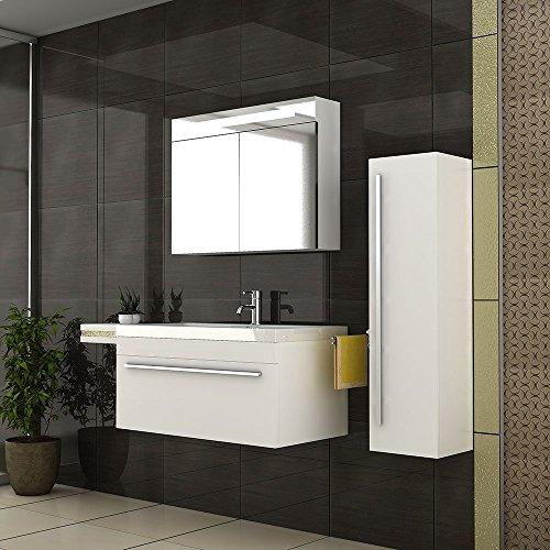 Waschplatz / Badezimmer Waschtisch / Möbel Für´s Bad / Waschbecken /  Waschplatz / Modell Garda 900 / Farbe Weiß / Waschtisch / Badmöbel