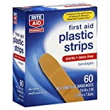 Rite Aid Pharmacy Plastic Strips, First Aid, All One Size, 60 bandages