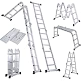 Giantex 12.5ft En131 Multi Purpose Aluminum Folding Step Ladder Foldable Extension