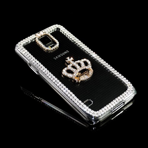 Iclover 3D Crown Crystal Bling Diamond Clear Hard Case Cover For Samsung Galaxy S5 G900