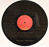 """Bob Seger """"Night Moves"""" Black Vinyl 12"""" LP With The Words To The Hit Song Laser Etched Into The Record Unique Wall Hanging"""