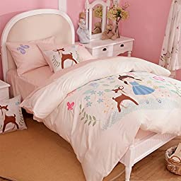 Linpure Butterfly Valley Kids Duvet Cover Sets 2 Pillowcases 1 Duvet Cover Cotton Pink Size Twin