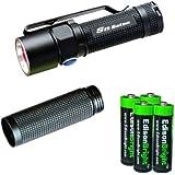 Olight S15 Baton XM-L 280 Lumens LED single AA Flashlight EDC with free extender tube and four EdisonBright AA alkaline Batteries