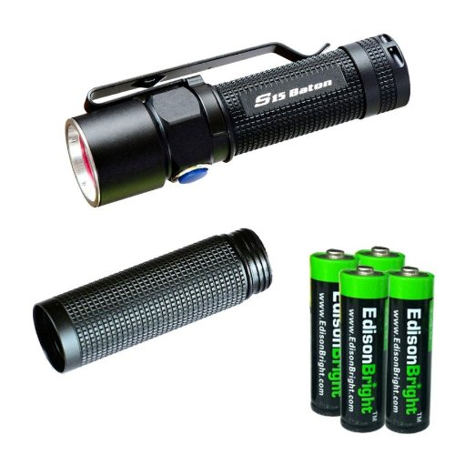 Olight S15 Baton Xm-L 280 Lumens Led Single Aa Flashlight Edc With Free Extender Tube And Four Edisonbright Aa Alkaline Batteries