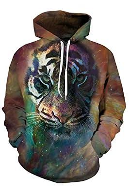 Timemory Unisex 3D Printed Drawstring Hoodie Pullover Sweatshirt