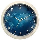 #9: 1 Stop Poster Design Silent Movement (26 cm X 26 cm) Plastic Round Shape World Map Design Wall Clock.
