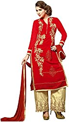 Awesome Women's Georgette Unstitched Dress Material (Red)