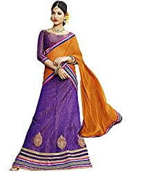 Suchi Fashion Purple and Orange Net Embroidery Border Work Semi Stitched Lehenga
