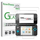 Nintendo 2DS XL Glass Screen Protector, amFilm [2 Glass Top, 2 Glass Bottom] Screen Protectors for New Nintendo 2DS XL 2017 (4 Protectors in Package)