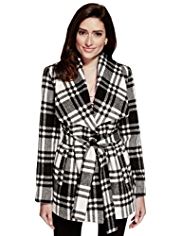 Per Una Checked Belted Jacket with Wool