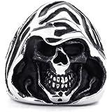 KONOV Jewelry Mens Stainless Steel Ring, Gothic Casted Grim Reaper Skull, Black Silver