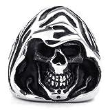 """KONOV Bijoux Bague Homme - Gothique Grande Faucheuse """"Grim Reaper"""" Tête de mort - Acier Inoxydable - Anneaux - Fantaisie - pour Homme - Couleur Noir Argent - Avec Sac Cadeau - F23161 - Taille 62..."""
