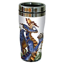 Tree-Free Greetings sg23582 Fantasy Book Club Reading Dragon and Fairy by Amy Brown, Sip N Go Stainless Travel Tumbler, 16-Ounce, Multicolored