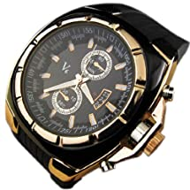 FenyStore V6 Hotsale Luxury Mens Golden Watch with Black Silicon Band