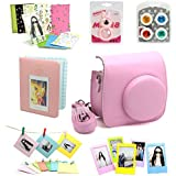 7 in 1 instax Mini 8 Instant Film Camera Accessories Bundles (Pink Instax Mini 8 Case/ Mini Album/ Close-Up Selfie Lens/ 4 colors Close-Up Lens/ Wall Hang Frames/3 inch Film Frame/ Film Stickers)