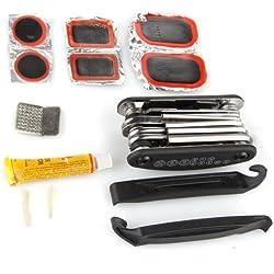 SODIAL(R) Reparacion Claves del destornillador sistema de herramienta de la bici Patch Pegamento