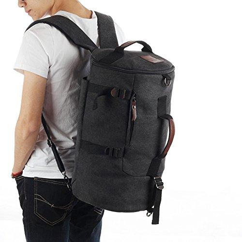 Grand sac à dos / toile de capacité / extérieur / sac à main / hommes occasionnels sac / sac de messager de sac-noir Gros