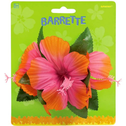 Pink Luau Hibiscus Barrette Party Accessory - 1