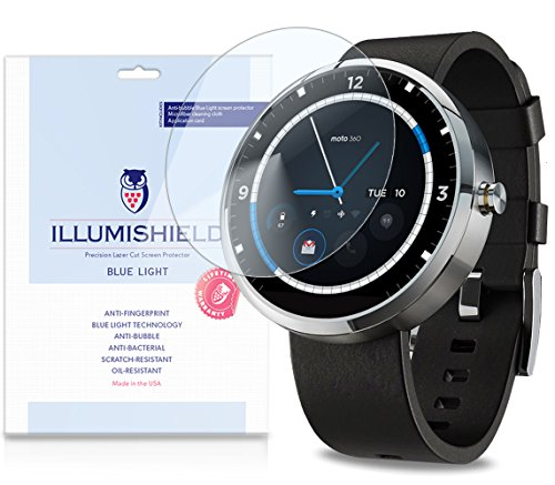 Illumishield - Motorola Moto 360 Android Smartwatch (Hd) Blue Light Uv Filter Screen Protector Premium High Definition Clear Film / Reduces Eye Fatigue And Eye Strain - Anti- Fingerprint / Anti-Bubble / Anti-Bacterial Shield - Comes With Free Lifetime Rep