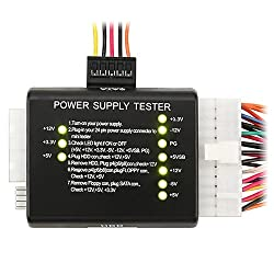 eForCity 20 / 24-pin Power Supply Tester for ATX / SATA / HDD, Black