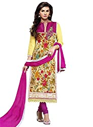 Kesar fashion women semi stitched embroidery dress material(KR_sultan_pink)