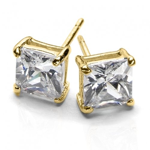 Bling Jewelry Gold Vermeil Basket Set Square Princess Cut CZ Unisex Stud Earrings (3ct 8mm)