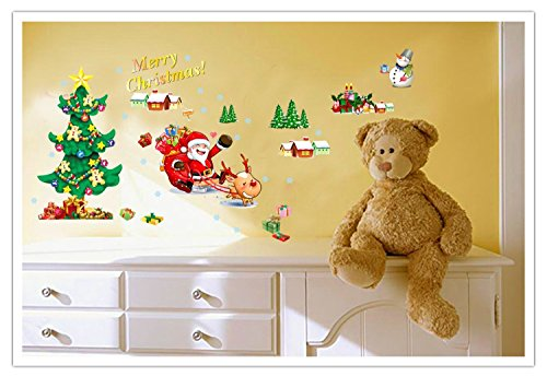 Amaonm Merry Christmas Santa Claus Christmas Tree Christmas Stockings Christmas Gifts Happy New Year Wall Decals Removable Wall Stickers Murals for Living Room Bedroom Shop Window (AY767)