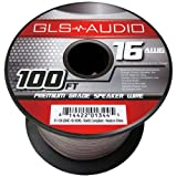 GLS Audio Premium 16 Gauge 100 Feet Speaker Wire - True 16AWG Speaker Cable 100ft Clear Jacket - High Quality 100' Spool Roll 16G 12/2 Bulk