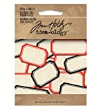 Vial Labels by Tim Holtz Idea-ology, 103 Labels, Various Sizes, White with Red and Black Trim, TH92993