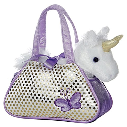 Fancy Pals - Unicornio de peluche, 20 cm, color blanco y lila (Aurora World 32600)