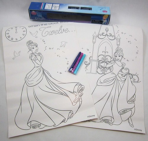 "DISNEY'S CINDERELLA!! 2 Coloring Posters With 3 Mini-Markers! Each Poster-15"" x 10"" Detailed!"