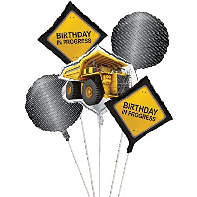 Construction Birthday Zone Balloon Cluster (5) Party Supplies