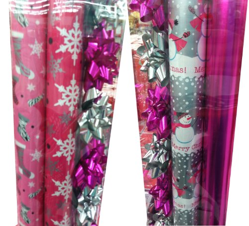PINK & GREY ~ Christmas Gift Wrap Set with Bows & Ribbon