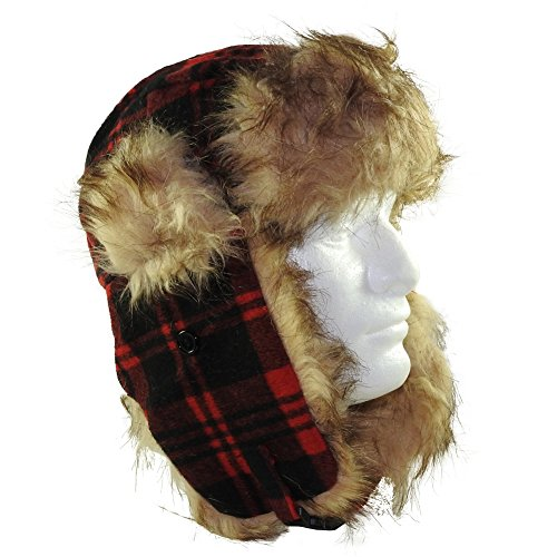 aspen-supply-womens-teens-fur-lined-trooper-trapper-aviator-hat-cap-winter-hat-red-black-plaid