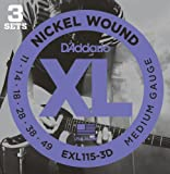 D'Addario EXL115-3D XL Nickel Wound Blues/Jazz Rock (.011-.049) Electric Guitar Strings 3-Pack