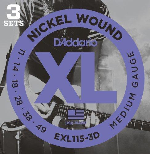 D'Addario ダダリオ エレキギター弦 ニッケル 3setパック Blues/JazzRock .011-.049 EXL115-3D 【国内正規品】