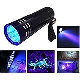 Aluminium UV Ultra Violet Blacklight 9 LED AAA Flashlight Torch Light Lamp