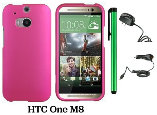 Htc One (M8) Solid Plain Color Hard Protector Cover Case (For 2014 Htc New Flagship Android Phone; Carrier: Verizon, At&T, T-Mobile, Sprint) + Travel (Wall) Charger & Car Charger + 1 Of New Assorted Color Metal Stylus Touch Screen Pen (Pink)