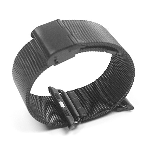 Happy Hours® Unisex Mens Ladies Milanese Loop Stainless Steel Mesh Band Watch Strap Adjustable Band Replacement With Connection Adapter for Apple Watch 38mm, Black