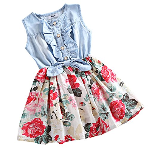 Mingao Little Girls Denim Floral Print Sleeveless Skirt Dresses 2-3 Years (Summer Toddler Clothes compare prices)