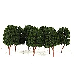 Generic 10pcs Street Train Model Trees Scenery 1/100 Scale Dark Green