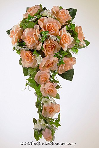 Peach Silk Rose Cascade - Wedding Bouquet