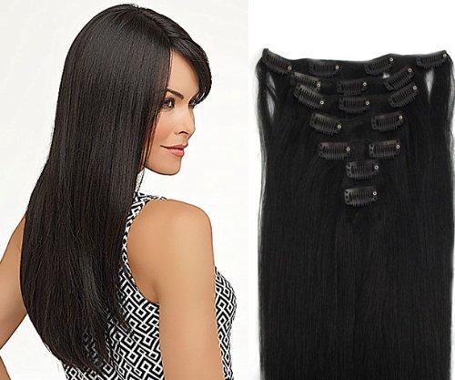 Clip-In-Extensions für komplette Haarverlängerung - hochwertiges Remy-Echthaar - 70g - 38 cm -7tlg- Nr. 1 tiefschwarz