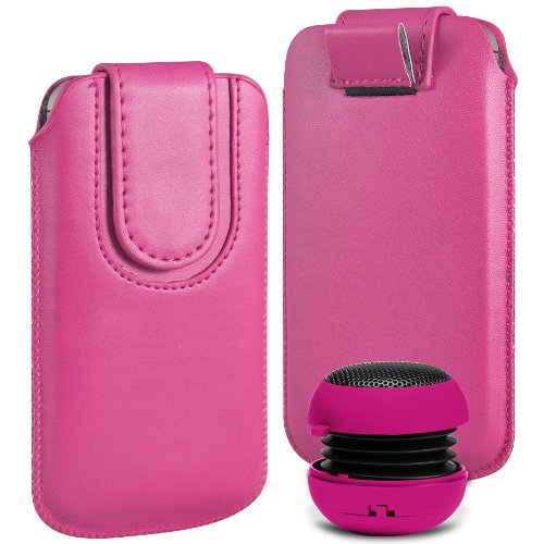 N4U Online Premium PU-Leder Flip Pull Tab Hülle Tasche mit Magnetbandverschluss und tragbare Mini-Lautsprecher für Nokia Lumia 610 - Rosa