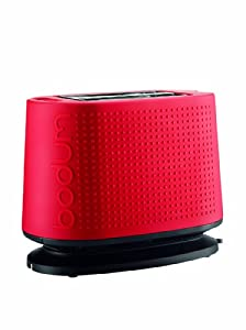 Bodum Bistro 2-Slice Pop-Up Toaster with Cool Touch Exterior, Red by Bodum