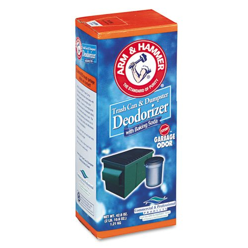 Arm & Hammer Trash Can & Dumpster Deodorizer, Unscented, Powder, 42.6 Oz front-384296