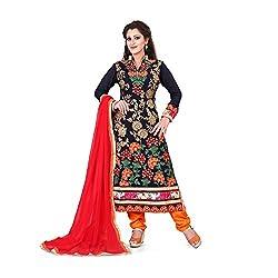 shreepati sarees Navy Blue Georgette Wedding Wear Salwar Suit With Dupatta Set