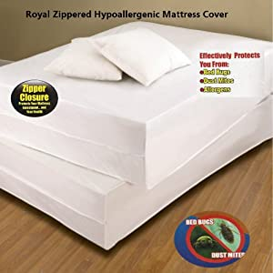 Royal Bed Bug Hypoallergenic Mattress Cover With Zipper Enclosure - FULL Size
