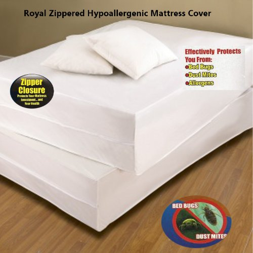 Learn More About Royal Bed Bug Hypoallergenic Mattress Cover With Zipper Enclosure - KING Size